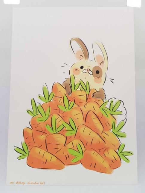 Bunny & Carrots A5 Art Print