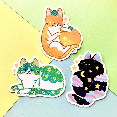 Super Cute Magical Cat Stickers Set of 3