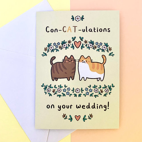 Con-CAT-ulations on your Wedding! A6 Greeting Card