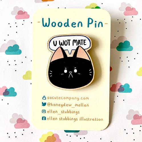 Black Cat Wooden Pin