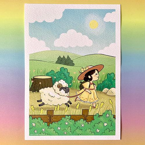 Cute Girl & Sheep A5 Art Print