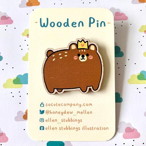 Royal Bear Wooden Pin