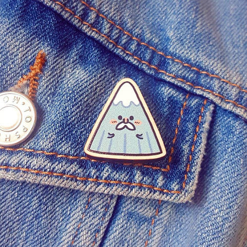 Cute Mountain Wooden Pin