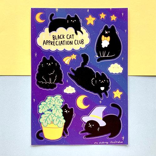 Black Cat Appreciation Club Sticker Sheet