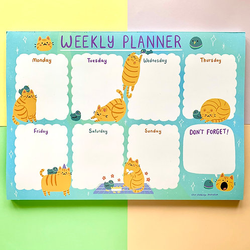 Cat and Pigeon Buddies A4 Weekly Planner