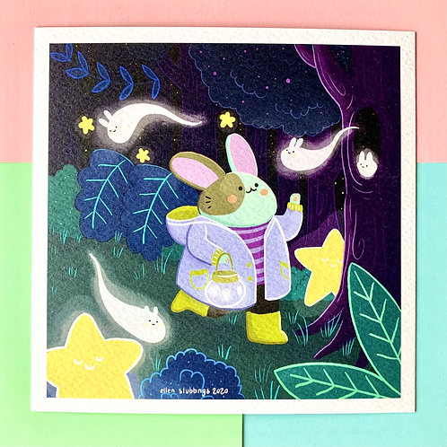 Cute Whimsical Forest Bunny Square Art Print