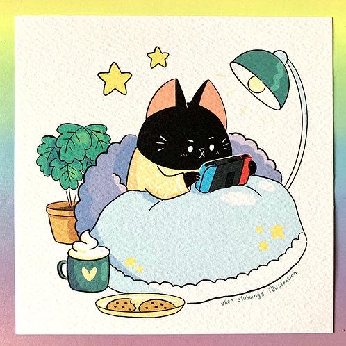 Black Cat Switch Sqaure Art Print