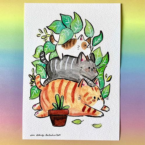 Cat Stack A5 Art Print