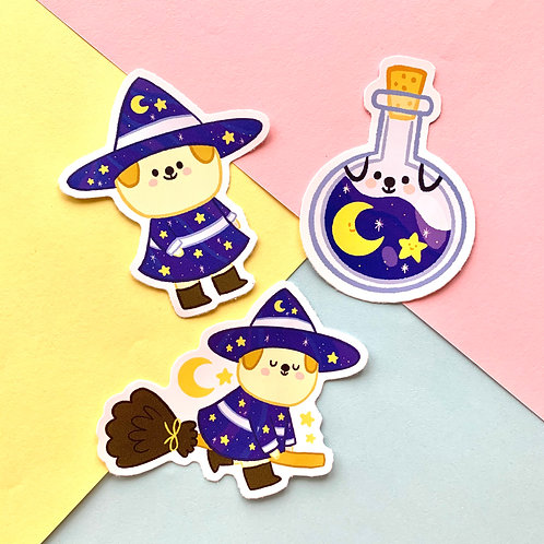 Witch Puppy Stickers Set of 3