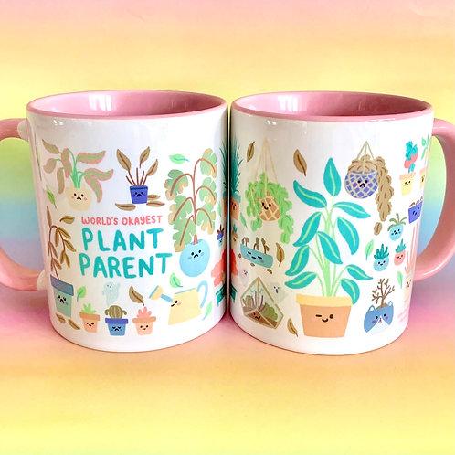 World's Okayest Plant Parent Mug Cute Illustration Mug