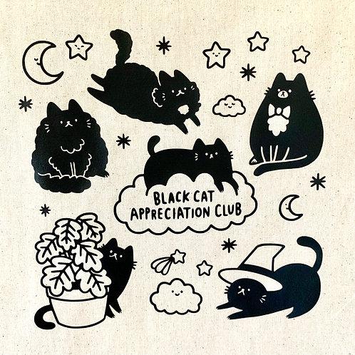Black Cat Appreciation Club Tote Bag