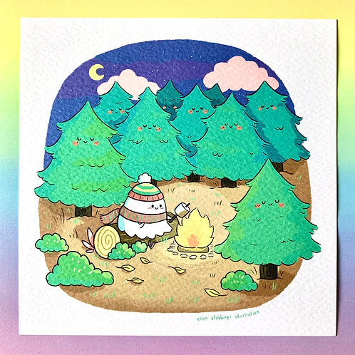 Camping Ghost Square Art Print
