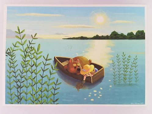 Girl & Bear in Boat A5 Art Print