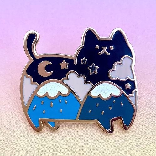 Glittery Cat Mountain Enamel Pin