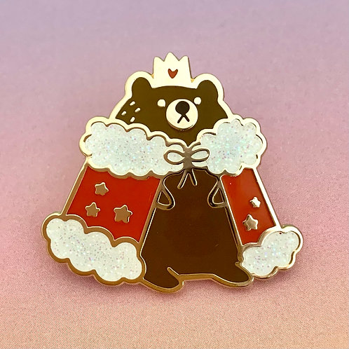 Royal Bear Glitter Enamel Pin