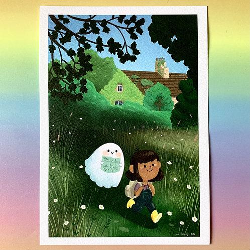 Cute Girl and Ghost Explorer A5 Art Print