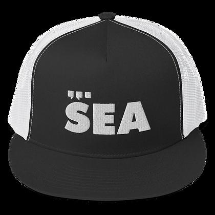 SEA Trucker Hat (white on black on white)