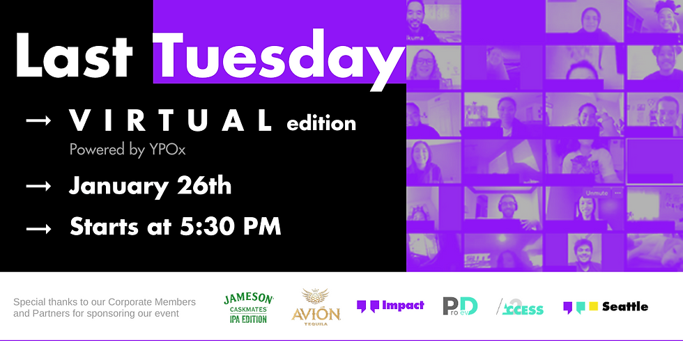Last Tuesday - January | a (Virtual) Seattle Happy Hour | Pacific