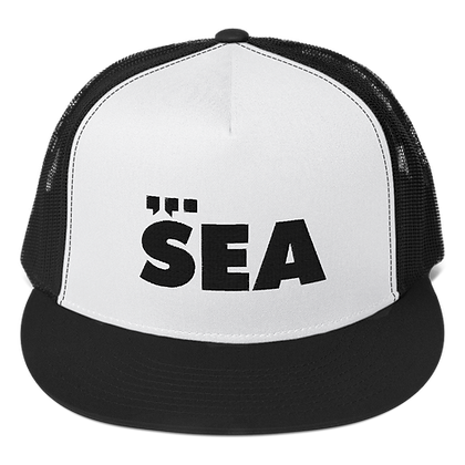 SEA Trucker Hat (black on white on black)