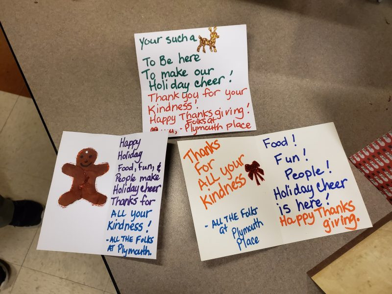 Some of the cards created by Plymouth residents (Photo credit: Ryan Finne)
