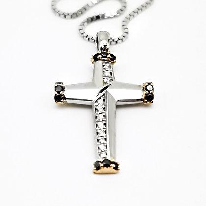 Croce e diamanti bicolore