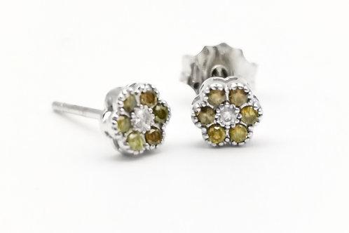 Orecchini fiore diamanti bianchi gialli
