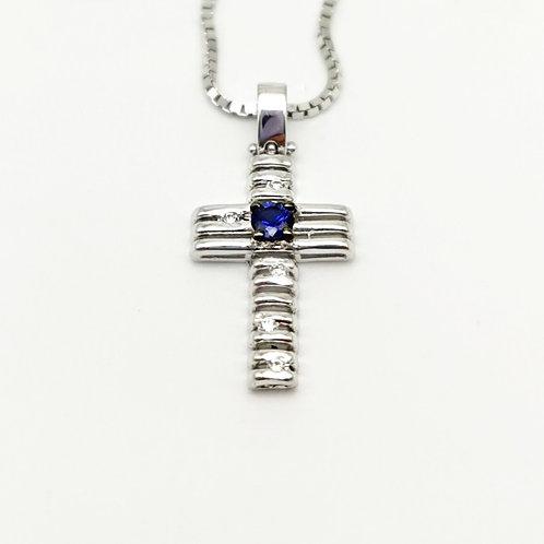 Croce zaffiro e diamanti