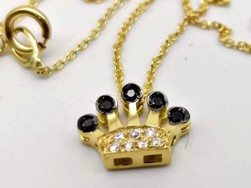 Ciondolo corona diamanti neri