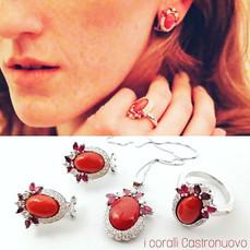 Completo corallo, diamanti e rubini