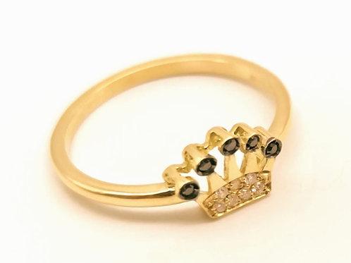Anello corona diamanti neri