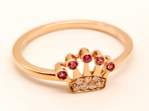 Anello corona zaffiri rosa