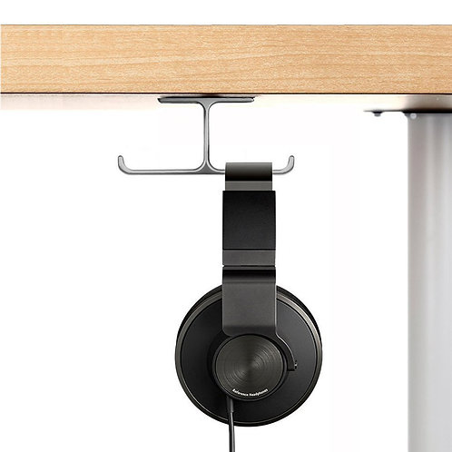 Aluminum Headphone Stand Holder, Stick-On Hooks Under-Desk Headphone Stand