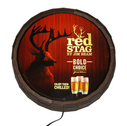 Red Stag Illuminated Barrel Sign