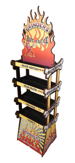 Grinders Hot Sauce Rack Display