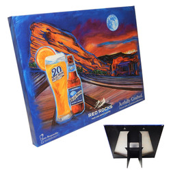 Blue Moon Red Rocks Canvas with Easel