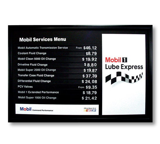 Mobil Product Menu Board
