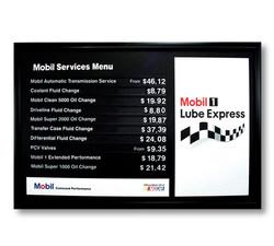 Mobil Product Menu Board