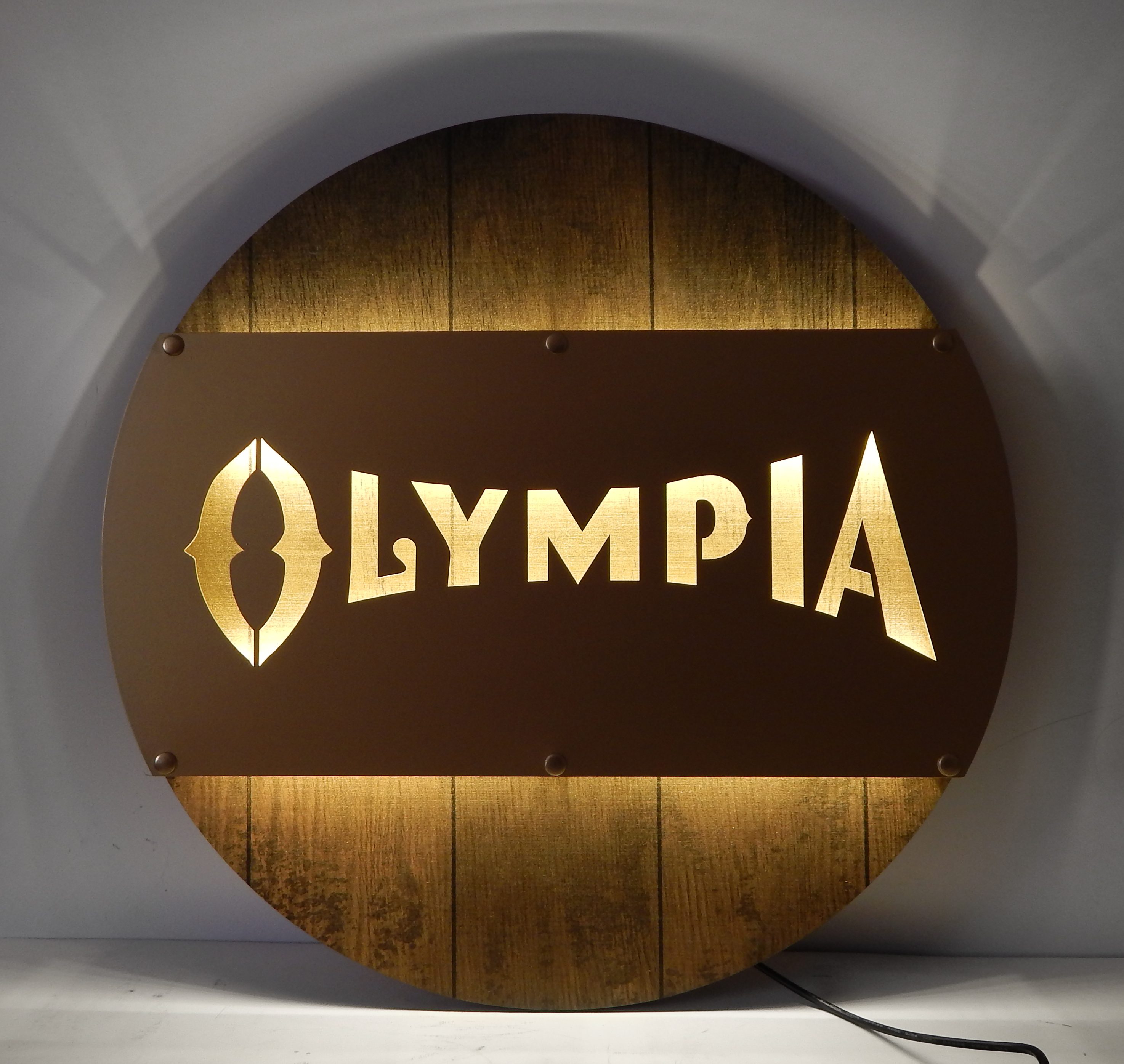 Olympia LED Metal Barrel Sign