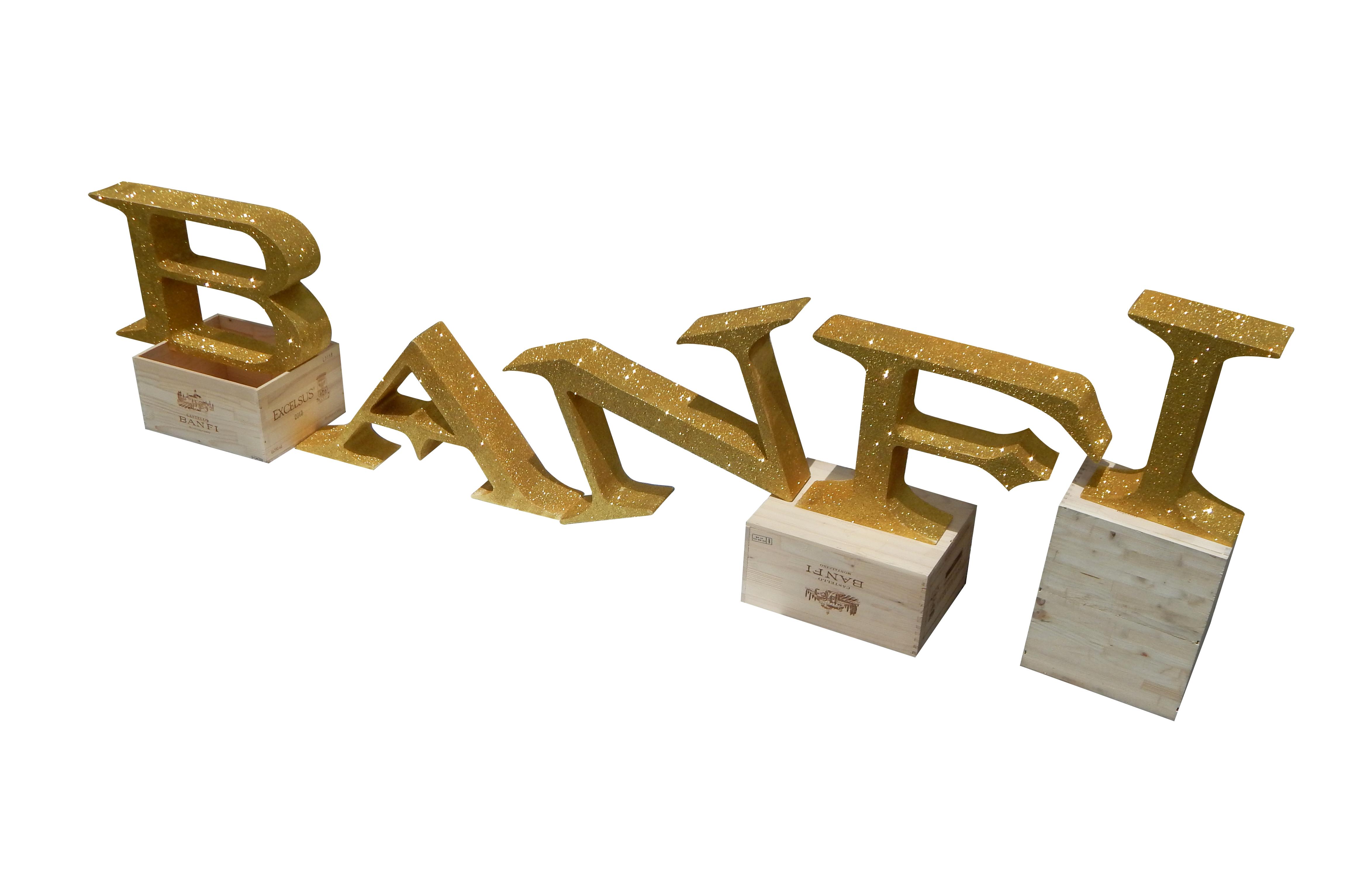 Banfi Foam Letters on Crates