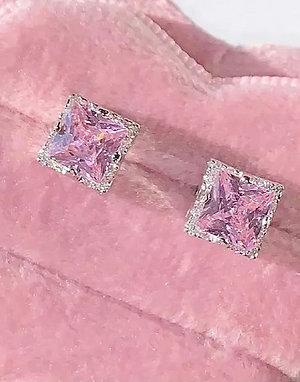 Pink Square Earrings