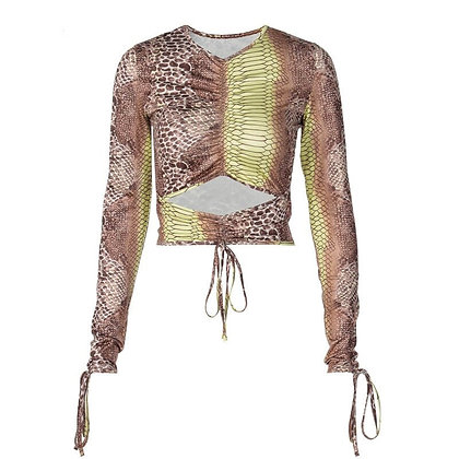 Snake Print Fitted Top