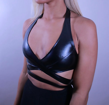 Leather Wrap Crop Top