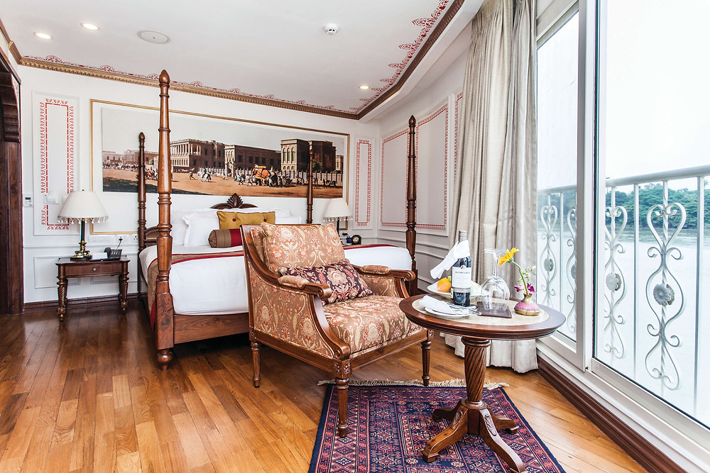 River cruise ships are small, but grand. Palatial interior of river cruise cabin.