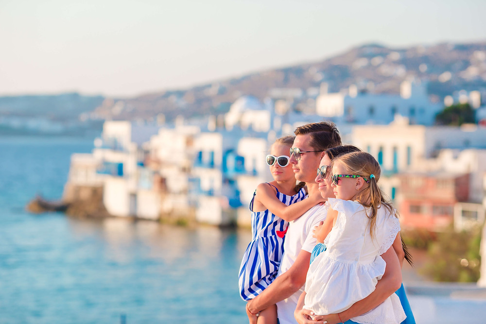 Family traveling in Greece