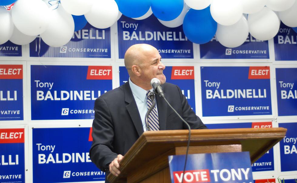 Tony Baldinelli celebrates his win
