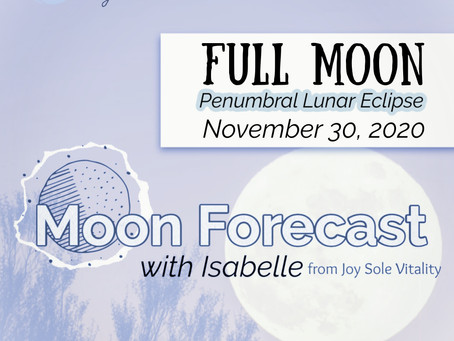 Moon Forecast with Isabelle: Penumbral Lunar Eclipse in The Gemini November 30