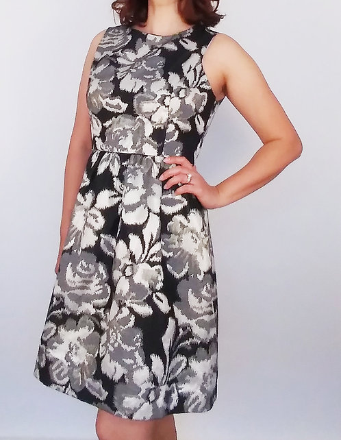 Silver Flowers Cocktail Dress