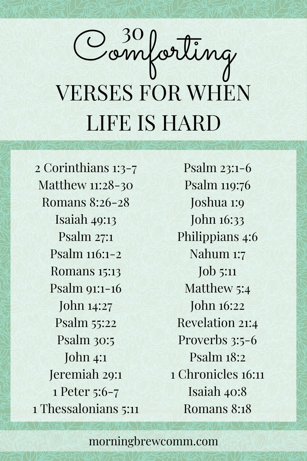 30 scriptures for when you need comfort in hard times