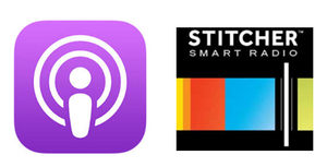 The Apple Podcasts app icon (L) and the Stitcher app icon (R)