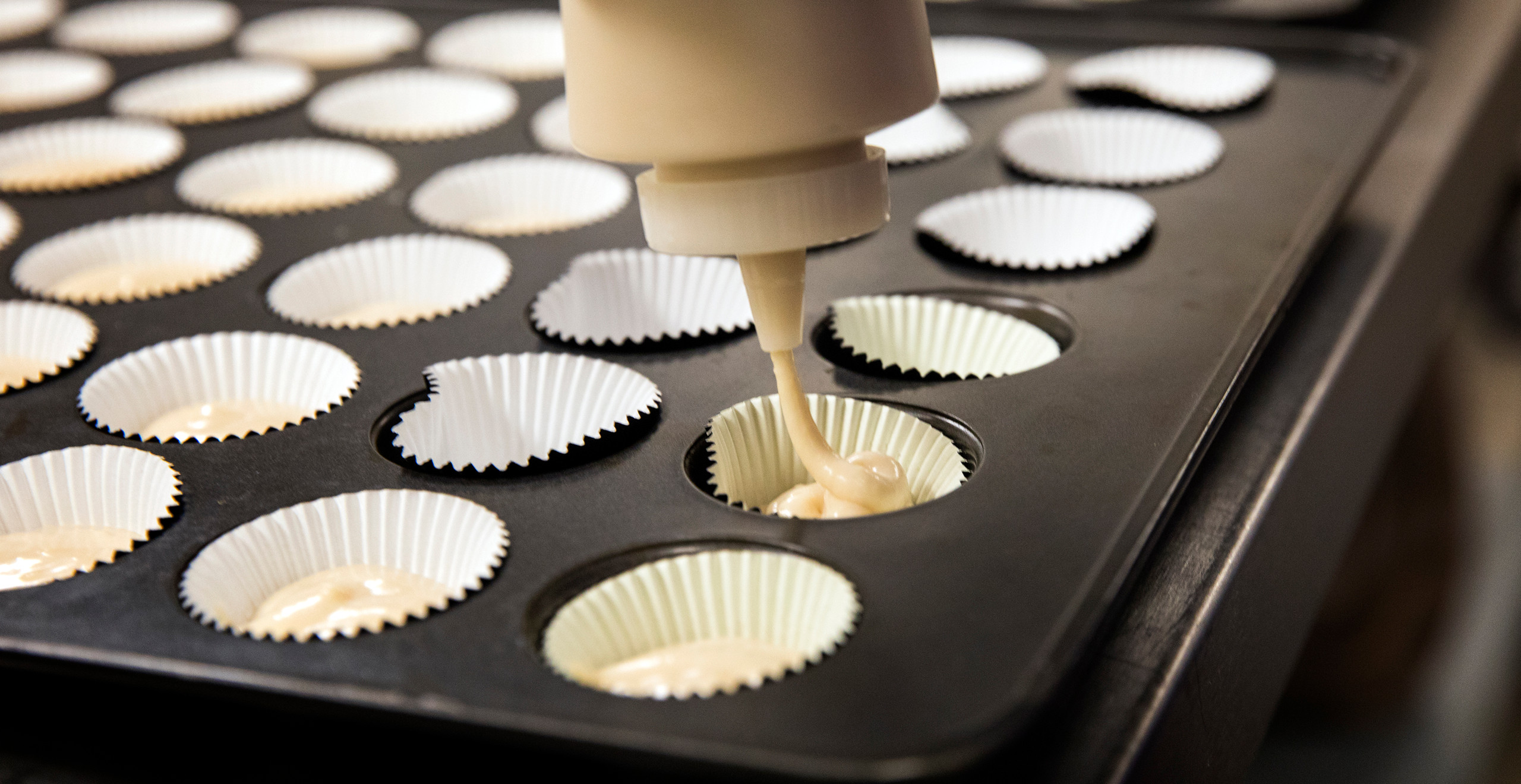Closeup of someone squeezing cupcake batter from a plastic squirt bottle into a mini cupcake tin filled with white cupcake liners.